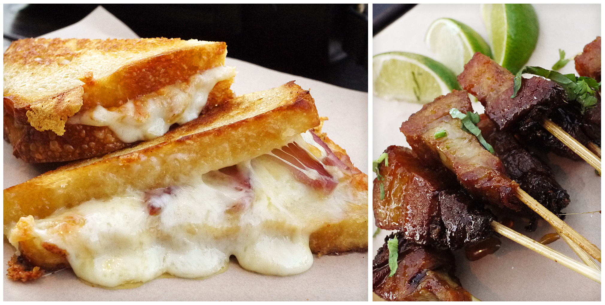 Grilled Cheese Sandwich and Pork Belly Skewers